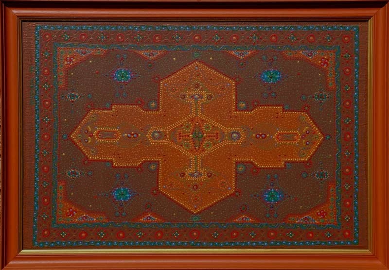 brown oriental rug inspired original contemporary painting