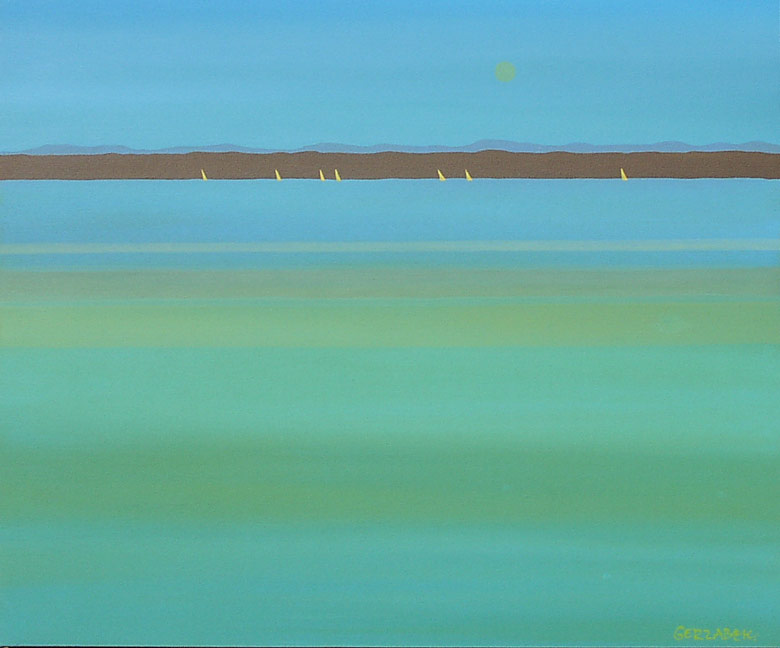 still waters impressionist river minimalist painting