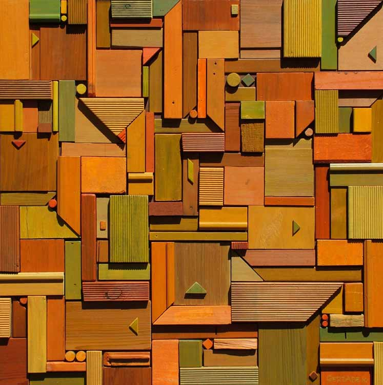 low rise abstract geometric wall sculpture bas-relief artwork