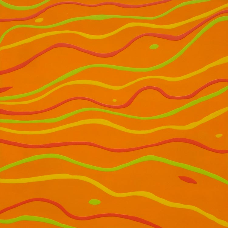waving goodbye original painting orange background wavy lines