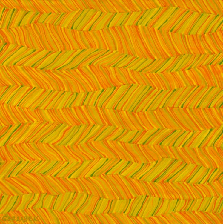 zigzag horizontal pattern orange yellow original painting