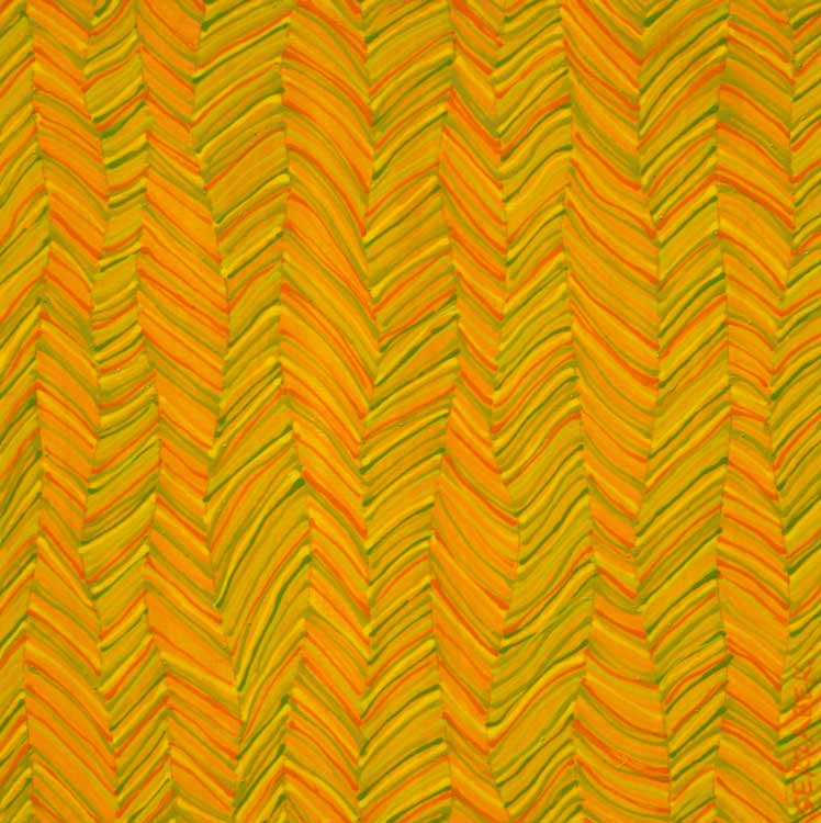 zigzag vertical pattern orange yellow original painting