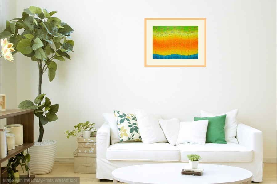 contemporary original semi-abstract flora inspired painting on wall image