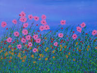 flowerburst contemporary original wild flowers painting