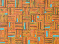 contemporary abstract geometric pattern recycled materials mixed media artwork