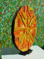 geometric recycled timber mandala sculpture side view