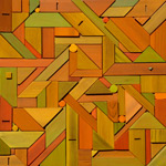 jigsaw bas-relief mixed medium abstract geometric assembly
