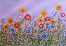 wildflowers contemporary original painting