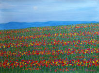 green field multi-coloured flowers decorative painting