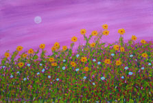 sunset blooms contemporary original painting