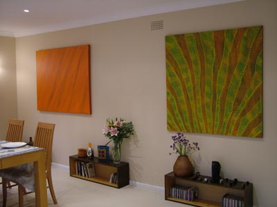 original painting in interior setting